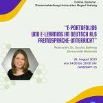 """Online-Seminar """"E-Portfolios und E-Learning im Deutsch als Fremdsprache-Unterricht"""" am 26. August 2020"""
